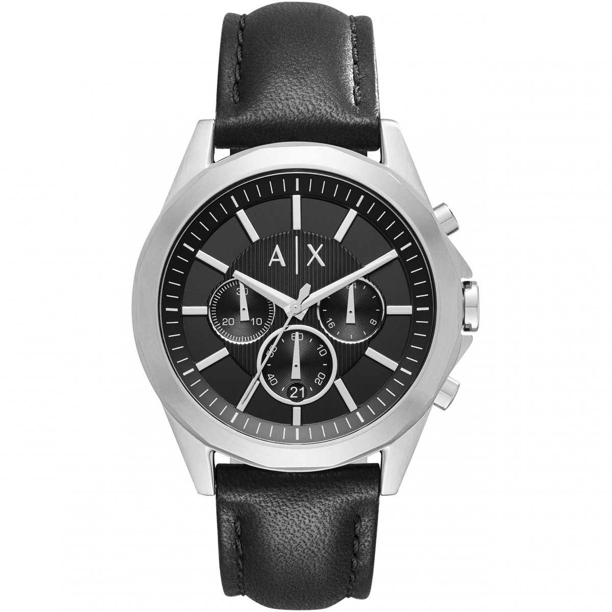 Hodinky ARMANI EXCHANGE Black Dial Black Leather Strap