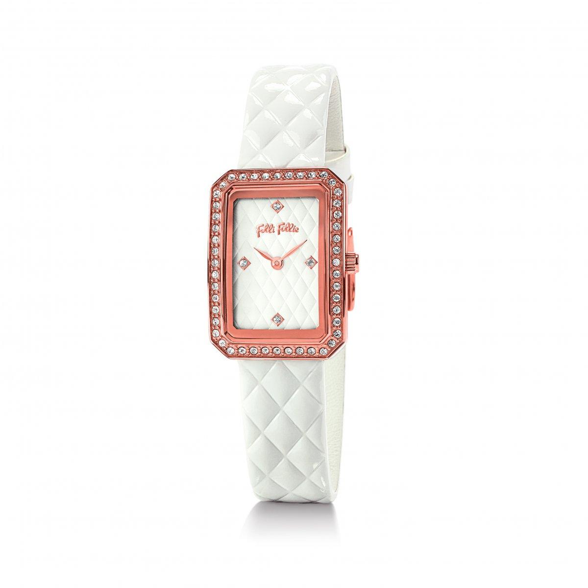 Hranaté zirkónové hodinky FOLLI FOLLIE s bielym remienkom