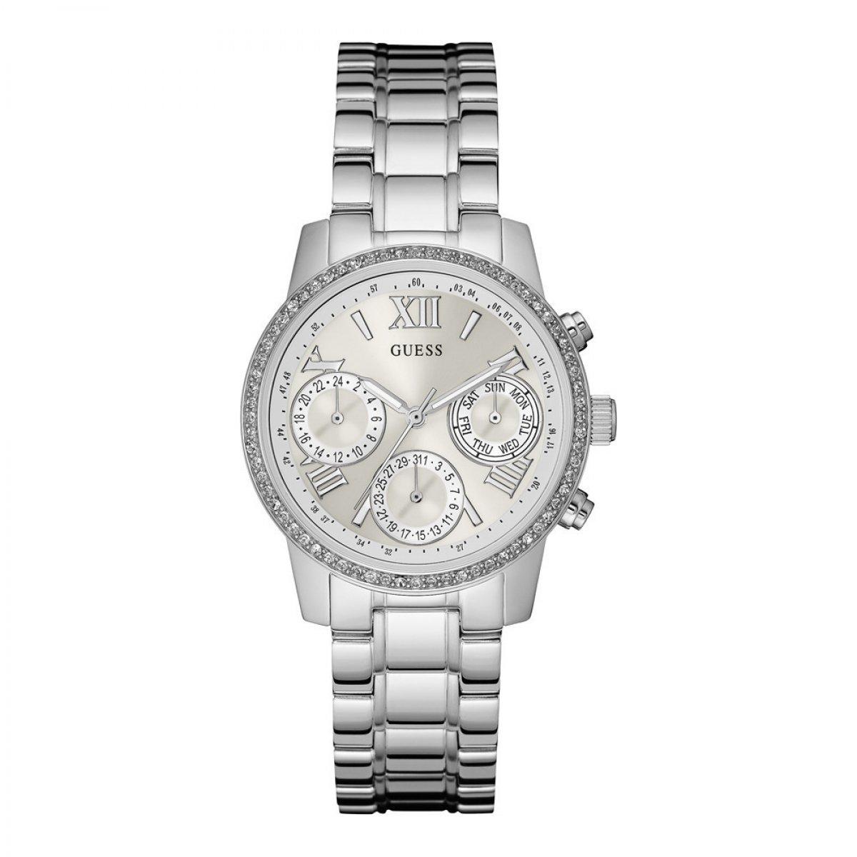 50c148725 Strieborné hodinky GUESS s krištáľmi W0623L1 | MOLOKO