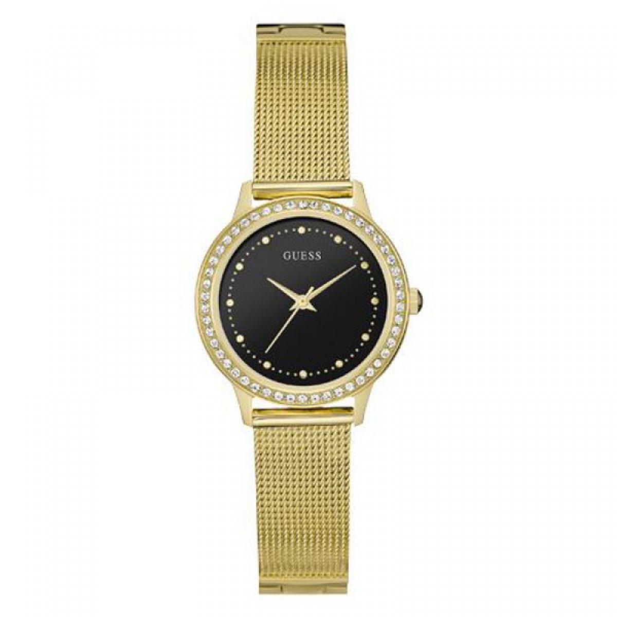 Zlaté hodinky GUESS s čiernym ciferníkom W0647L8  3fc84337cd