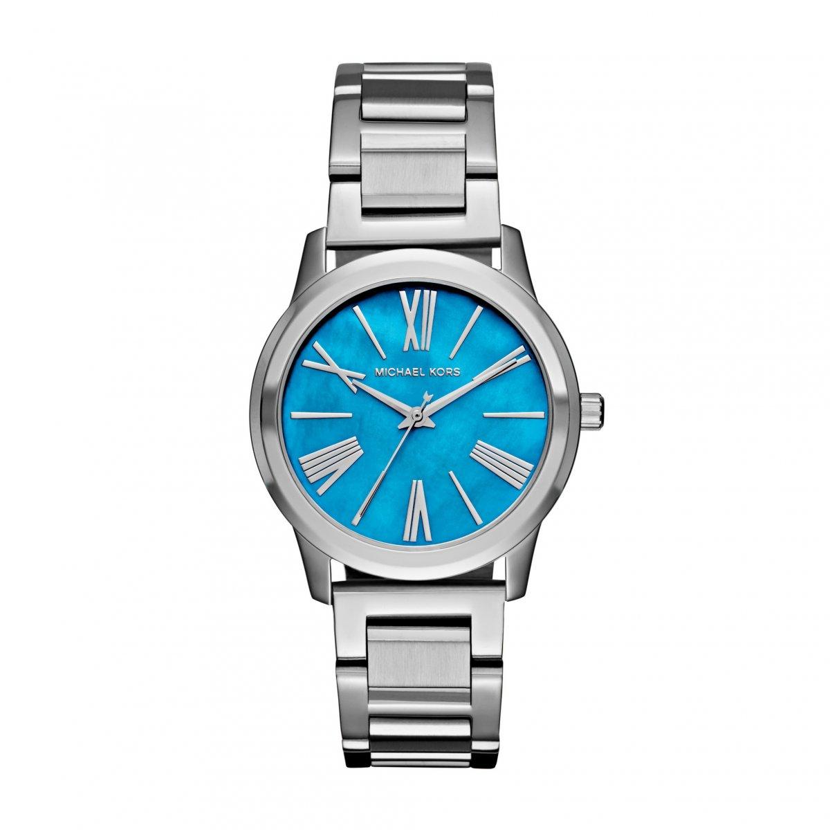 Strieborné hodinky MICHAEL KORS s modrým ciferníkom MK3519  4a103f9951