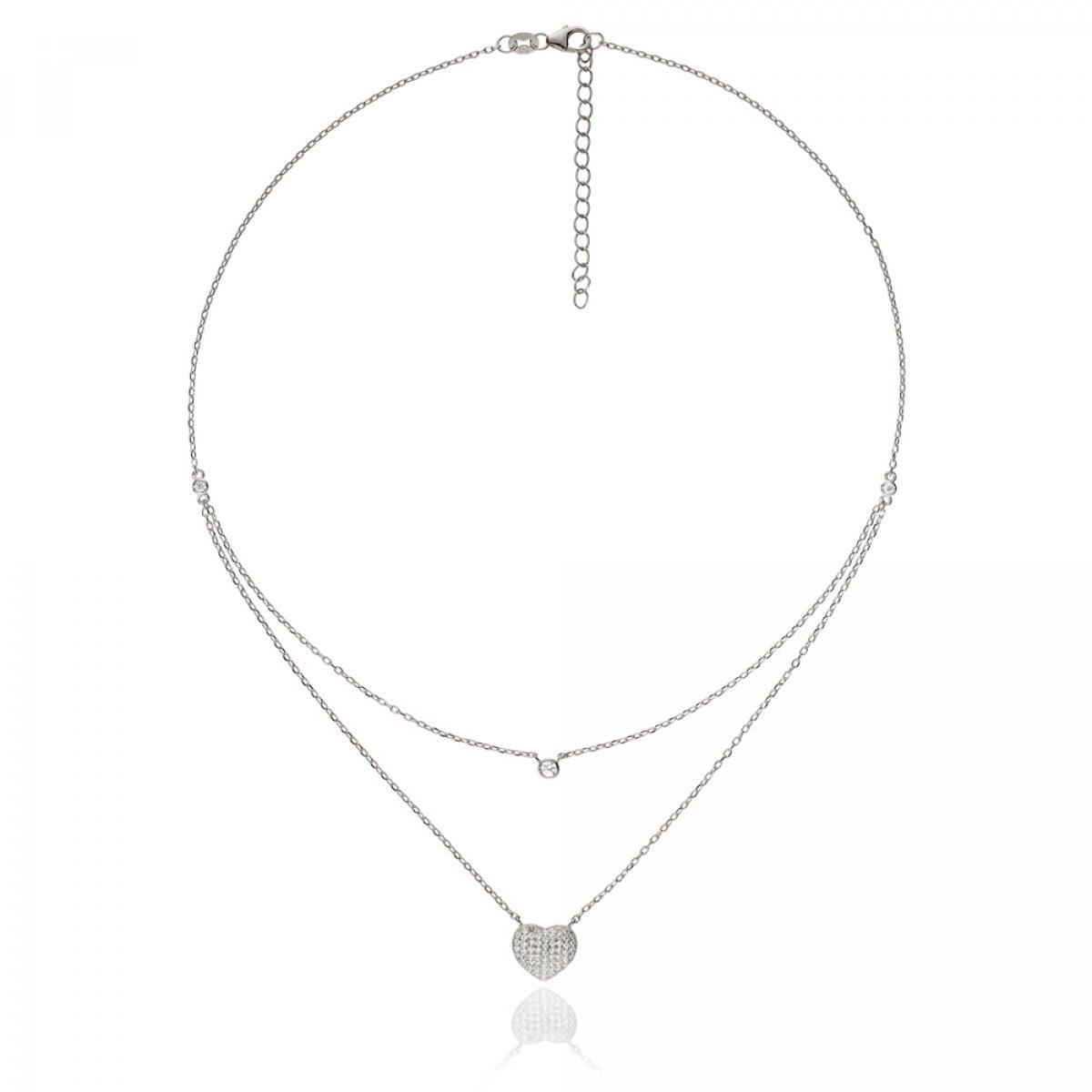 2b31e7712 Strieborný náhrdelník FOLLI FOLLIE so srdiečkom s krištáľmi 3N15S073C |  MOLOKO