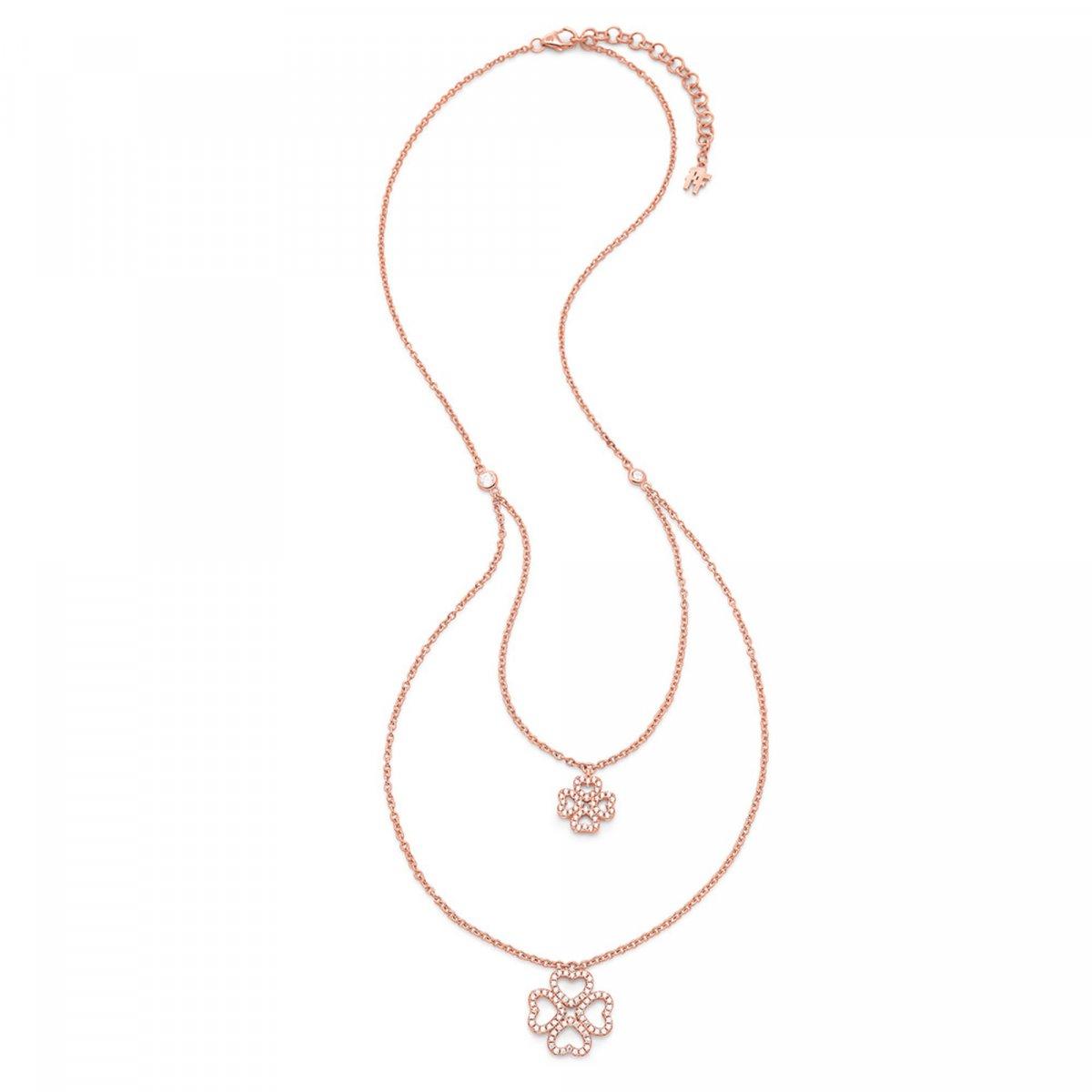 Ružový náhrdelník FOLLI FOLLIE s motívom srdiečok