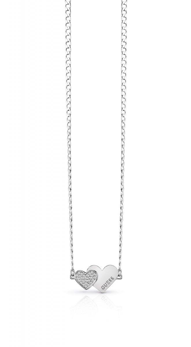 fe436cbaa Strieborný náhrdelník GUESS so srdiečkami UBN84074 | MOLOKO
