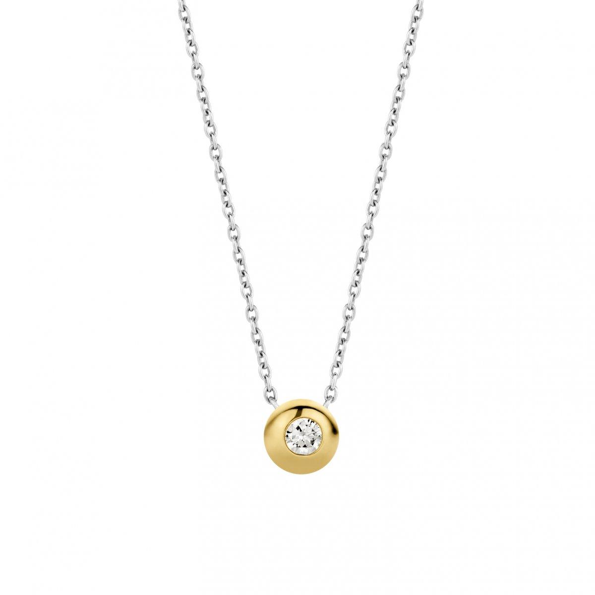 Strieborno-zlatý náhrdelník TI SENTO so zirkónom