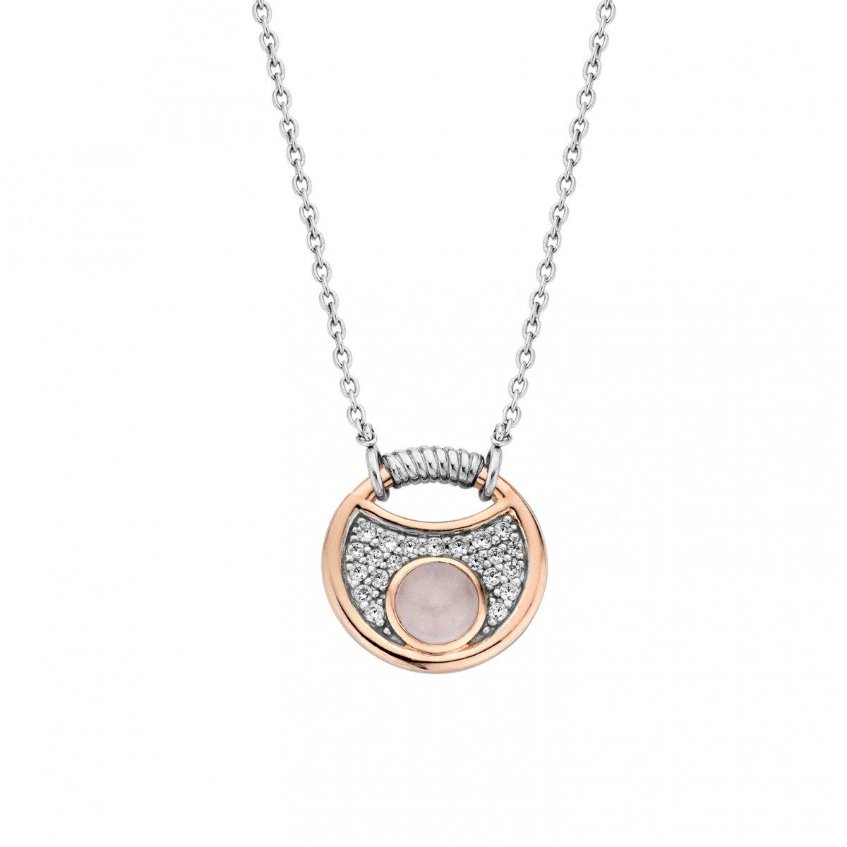 Strieborno-ružový náhrdelník TI SENTO s perleťou a zirkónmi