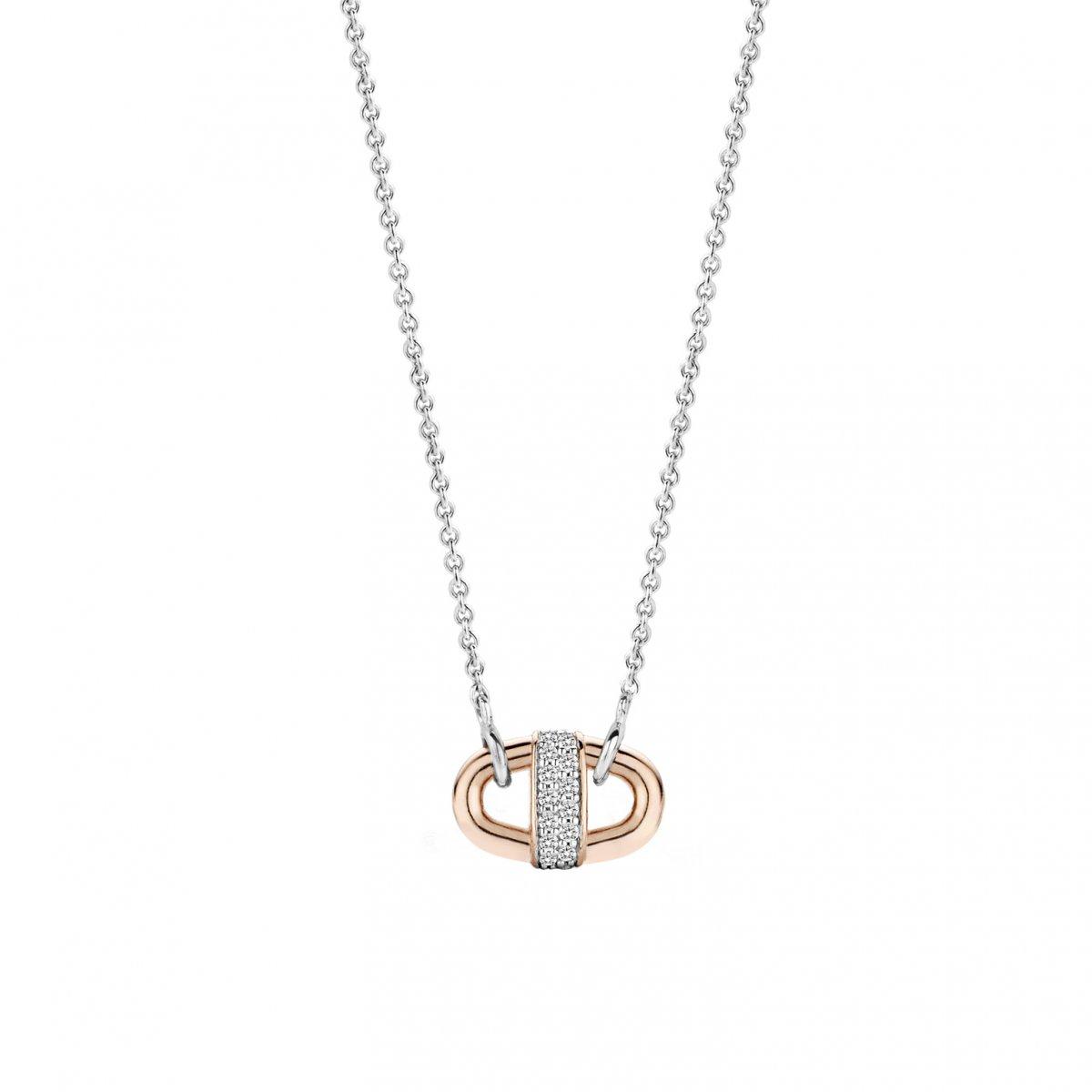 Strieborno-ružový náhrdelník TI SENTO s príveskom