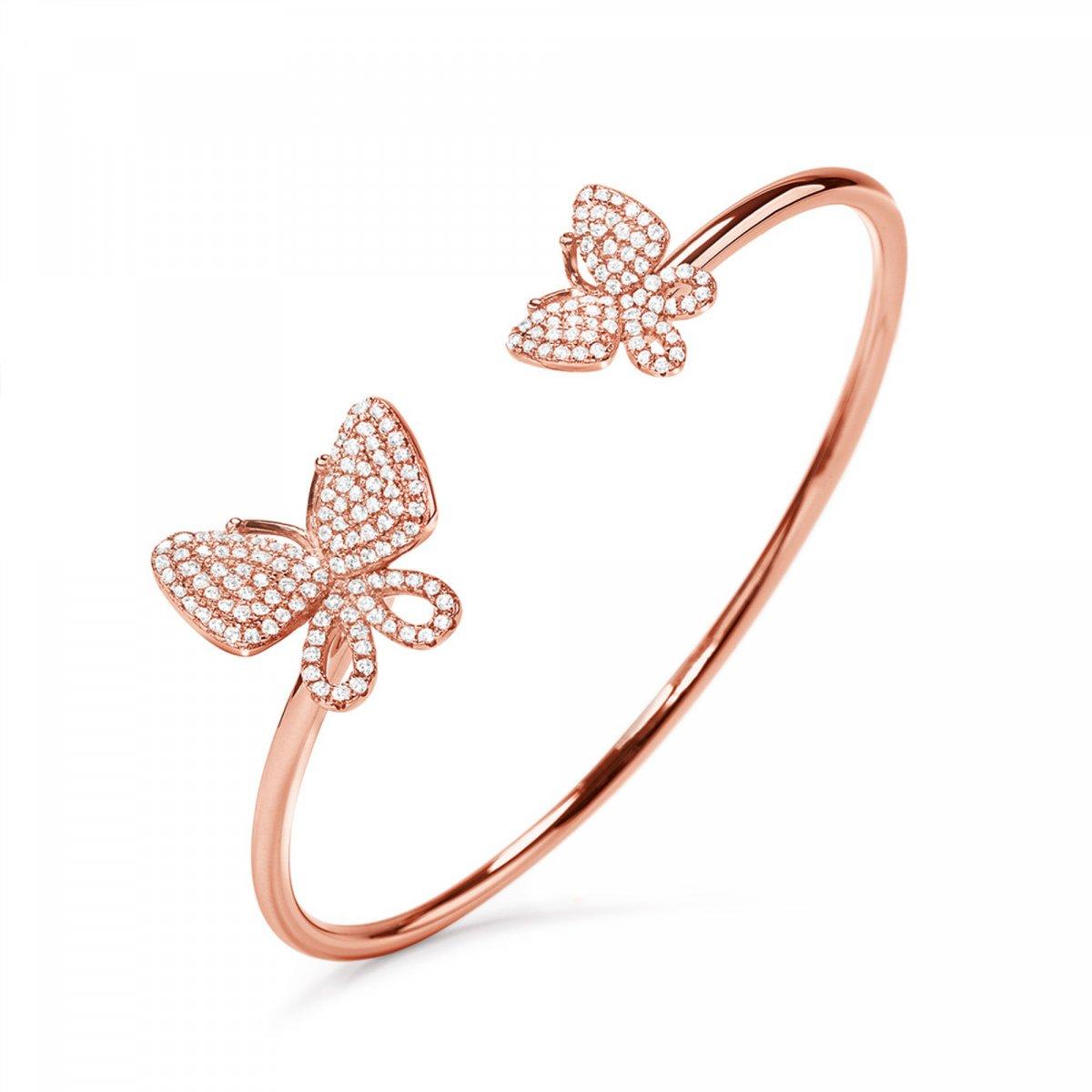 Ružový náramok FOLLI FOLLIE v tvare motýľa