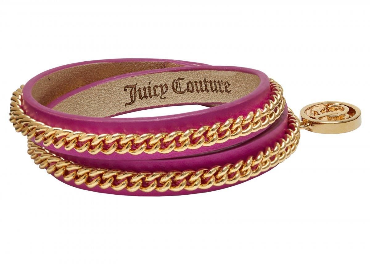 Dvojitý kožený ružovo-zlatý náramok JOUICY COUTURE