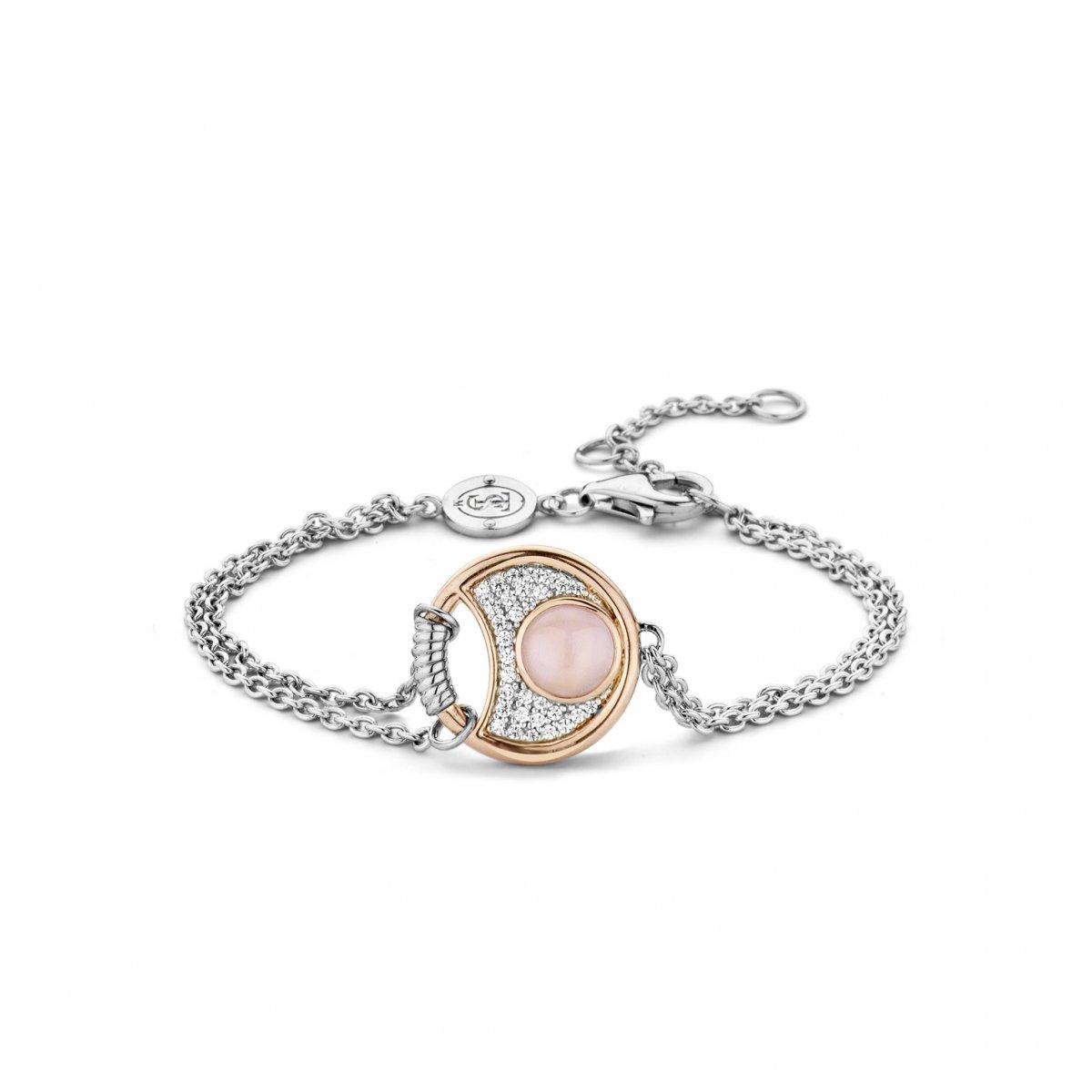Strieborno-ružový náramok TI SENTO s perleťou a zirkónmi