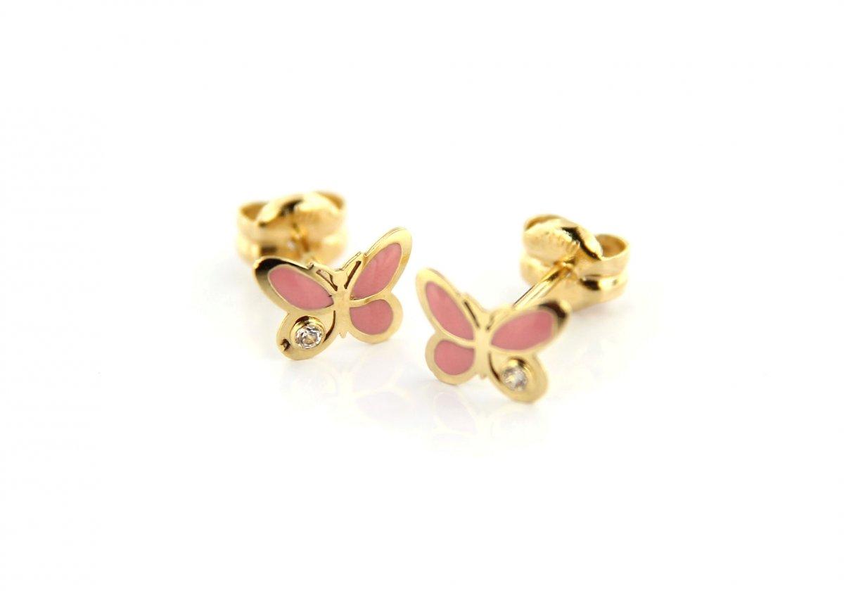 Detské náušnice CRISOLAR ružové motýliky