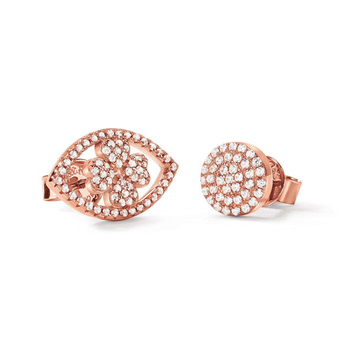 Náušnice FOLLI FOLLIE Heart4Heart Mati Rose Gold Plated Stud Earrings