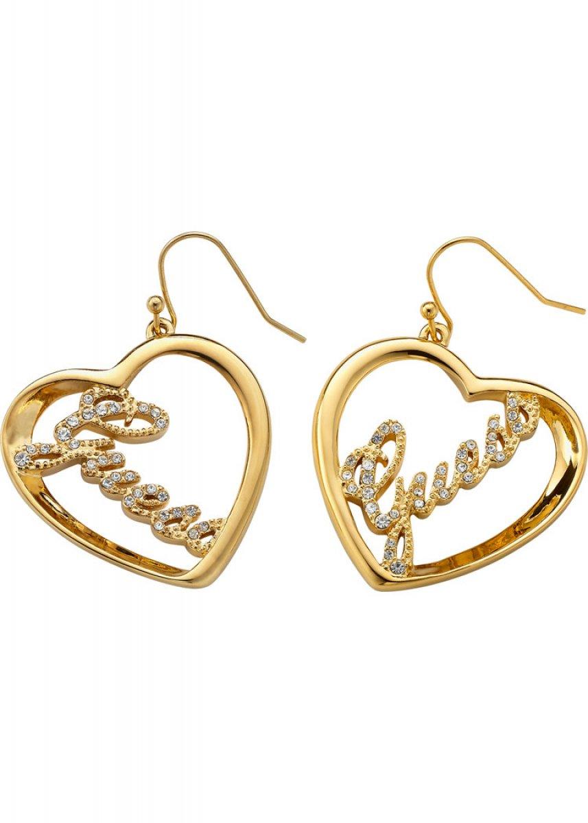 Zlaté srdiečkové GUESS náušnice UBE21202  e5a5008ff34