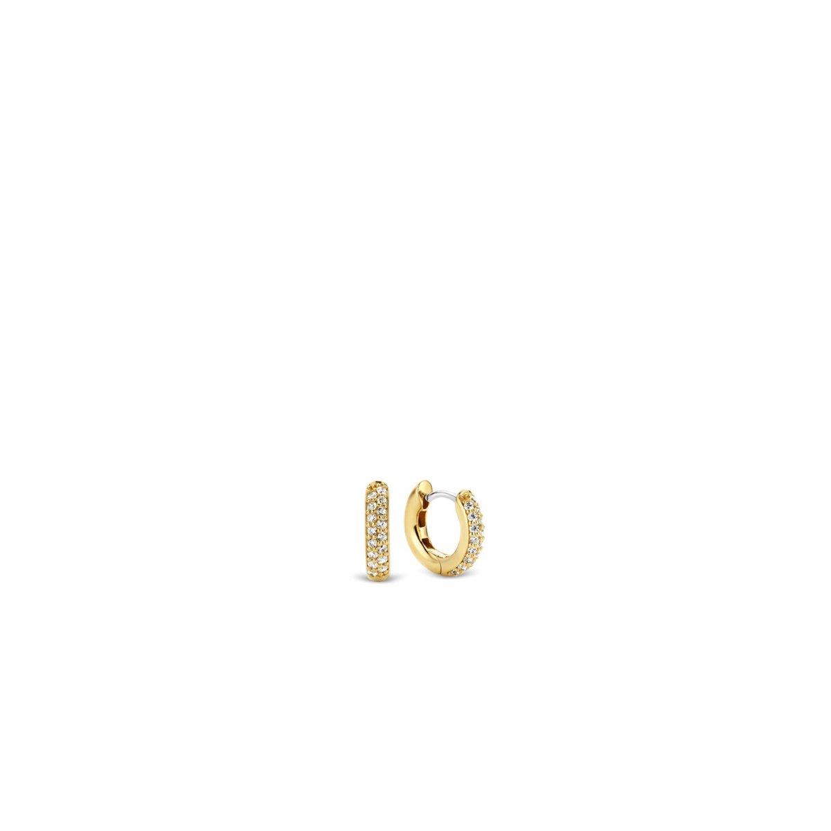 Zlaté kruhové náušnice TI SENTO so zirkónmi