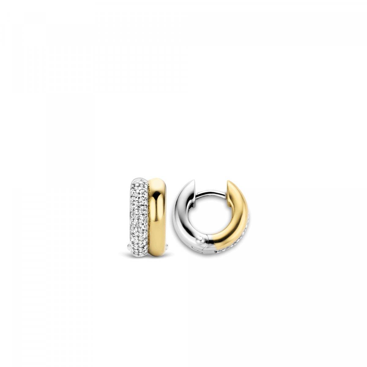 Kruhové náušnice TI SENTO v zlato-striebornom prevedení