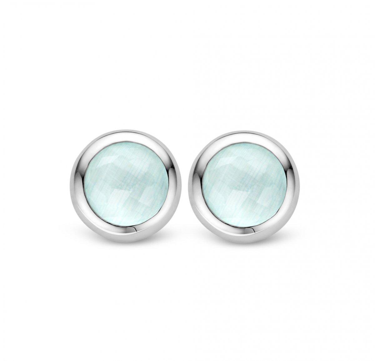 Okrúhle náušnice TI SENTO so svetlo modrým kameňom