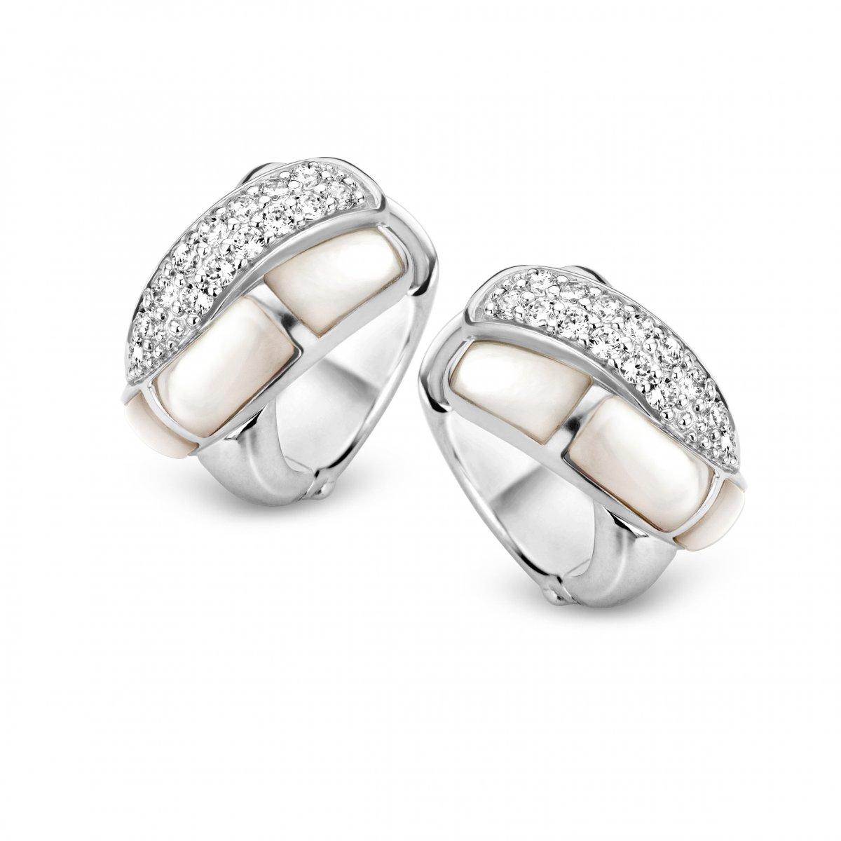 Kruhové náušnice TI SENTO s perleťou a zirkónmi