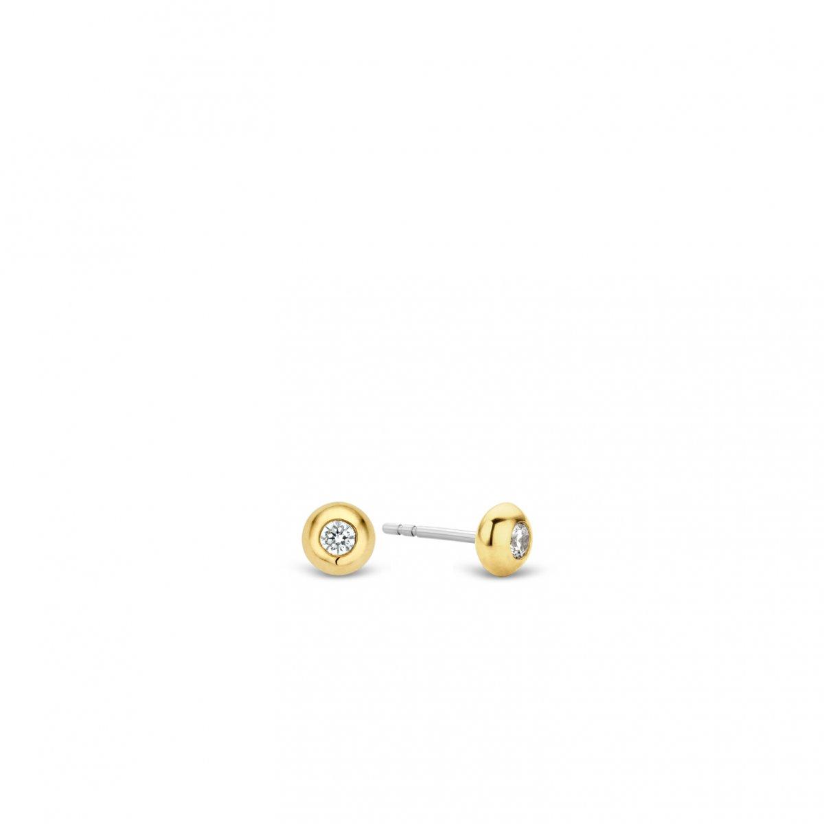 Strieborno-zlaté okrúhle náušnice TI SENTO