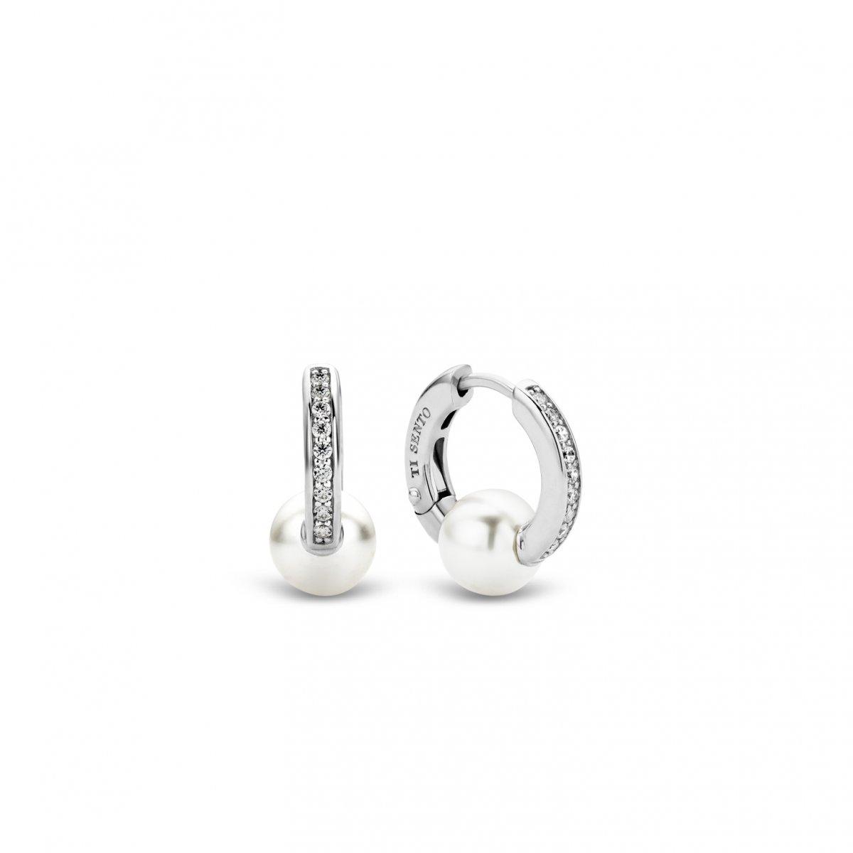 Kruhové náušnice TI SENTO s perličkou