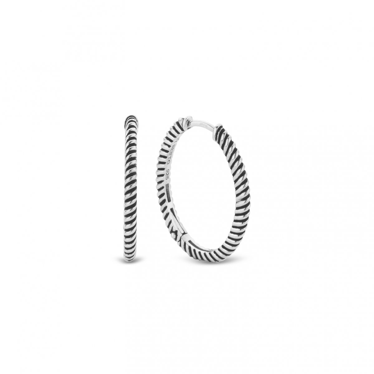 Strieborné kruhové náušnice TI SENTO s vrúbkovaním