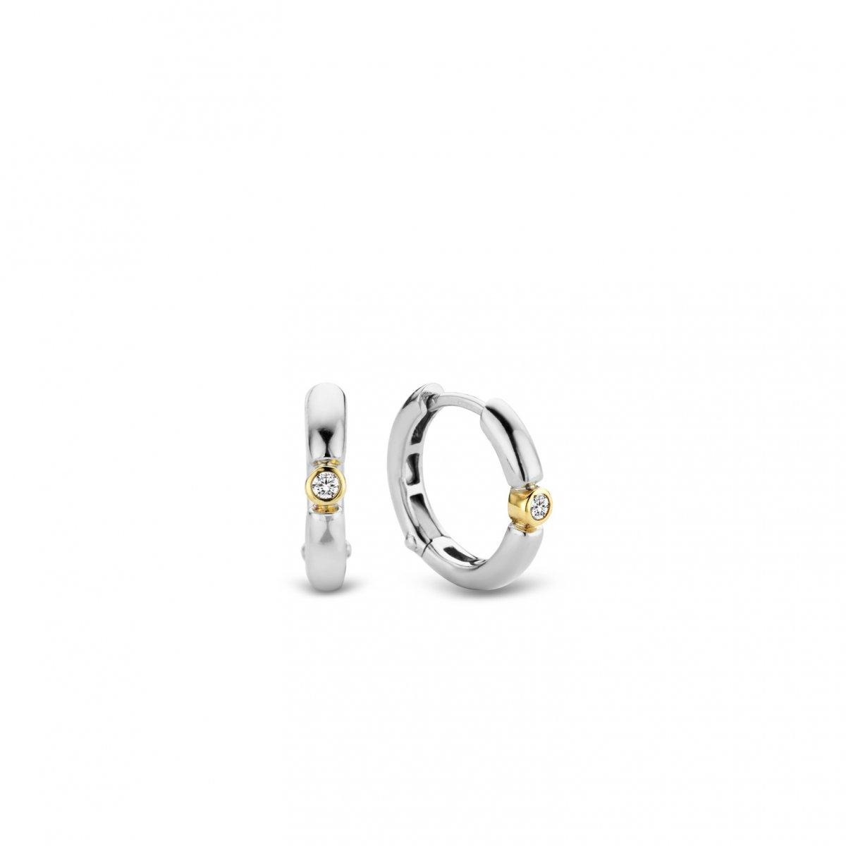 Strieborno-zlaté kruhové náušnice TI SENTO