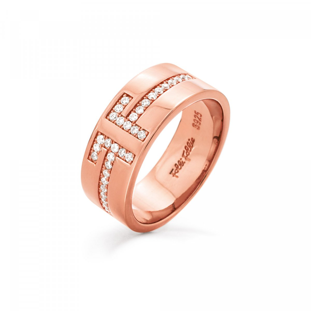 Prsteň FOLLI FOLLIE My FF Rose Gold Plated Wide Band Ring