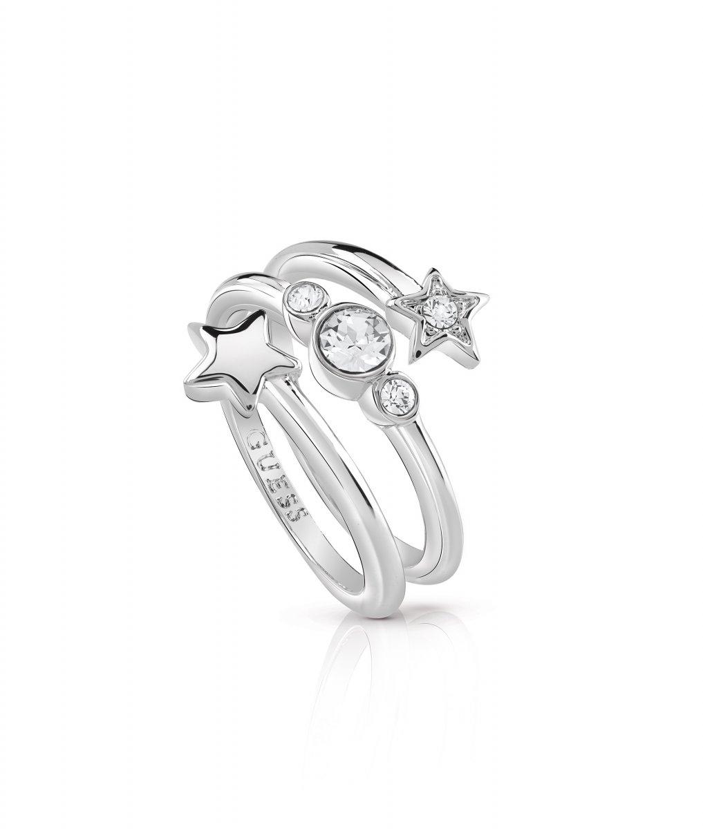 Strieborný prsteň GUESS s hviezdou a krištáľmi