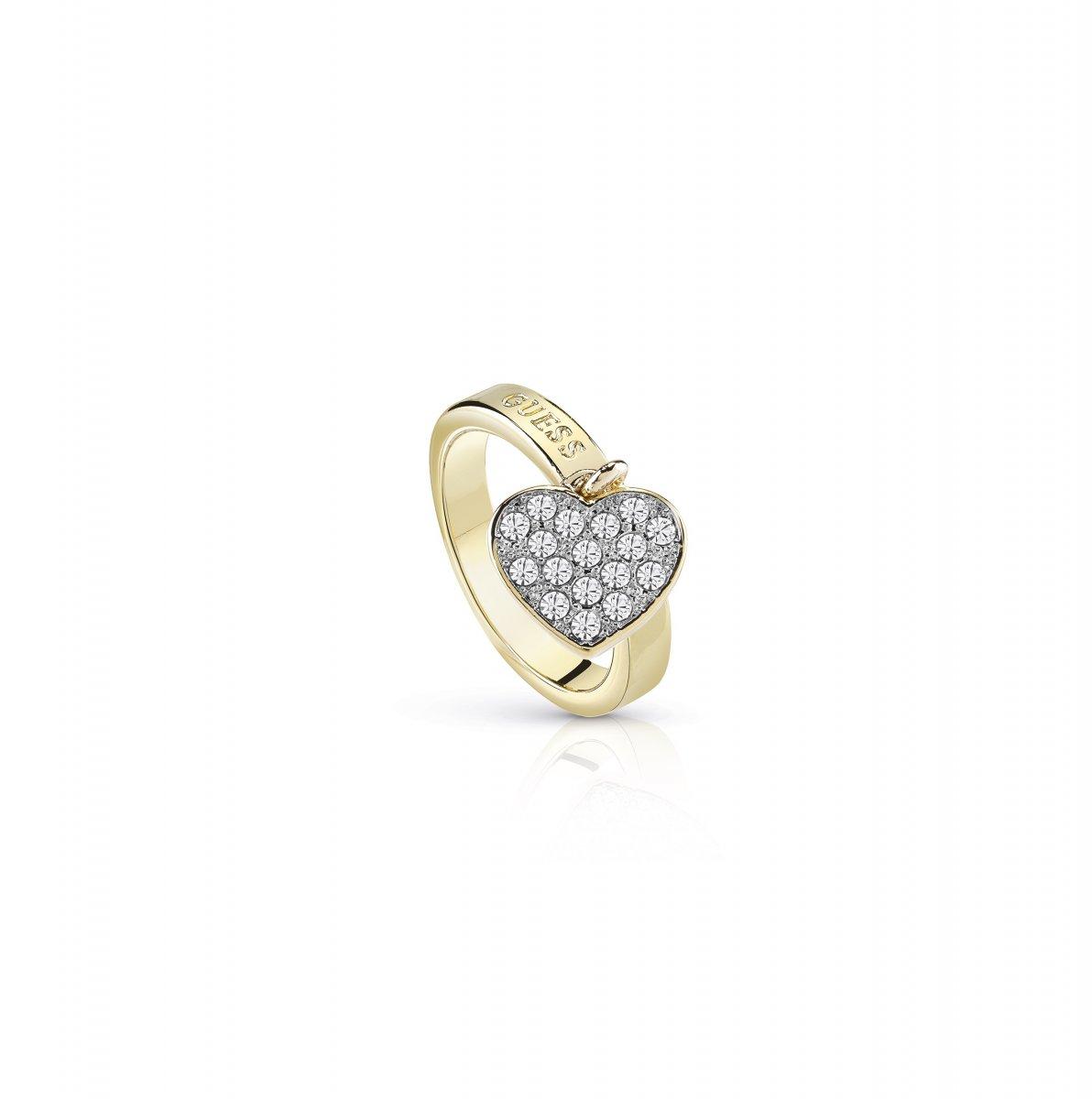 Zlatý prsteň GUESS so srdiečkom