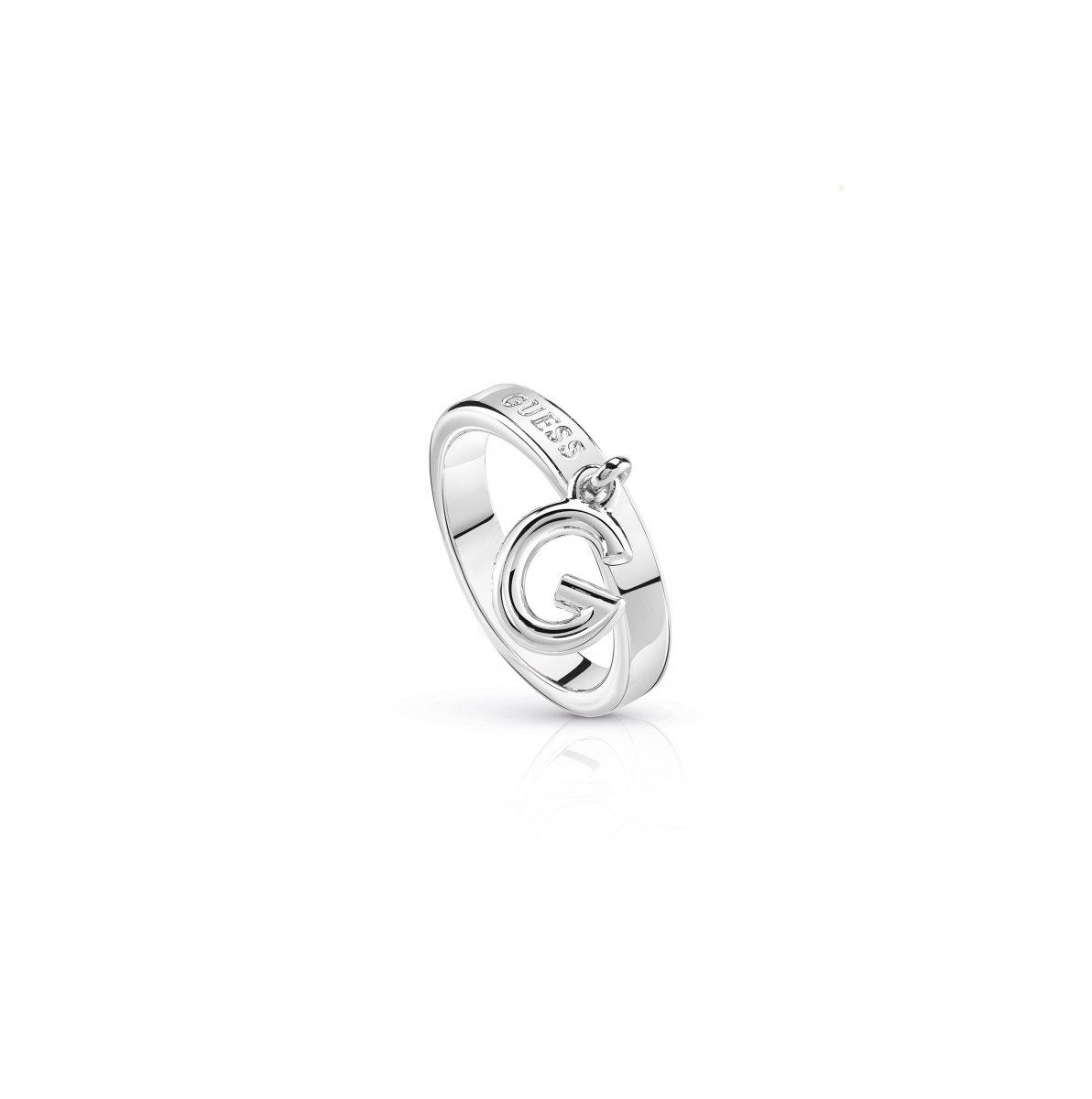 Strieborný prsteň GUESS s G