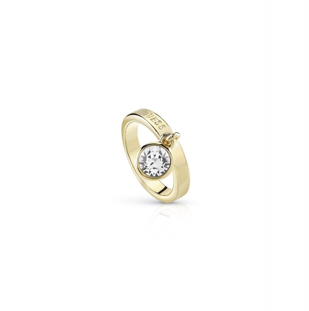 Zlatý prsteň GUESS s krištáľom