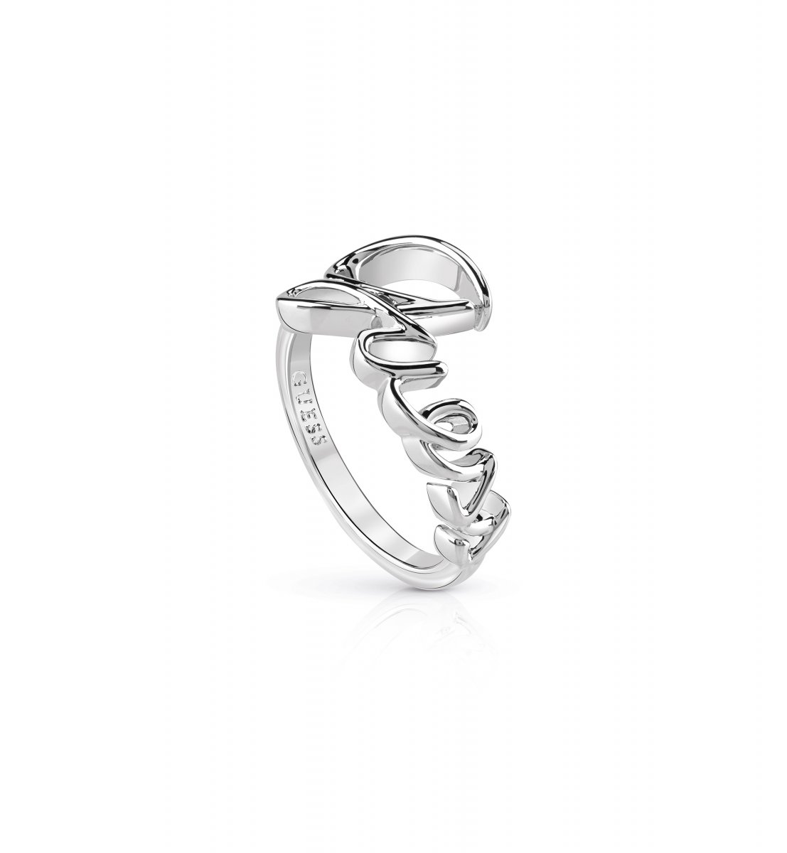 Strieborný prsteň GUESS s nápisom Guess