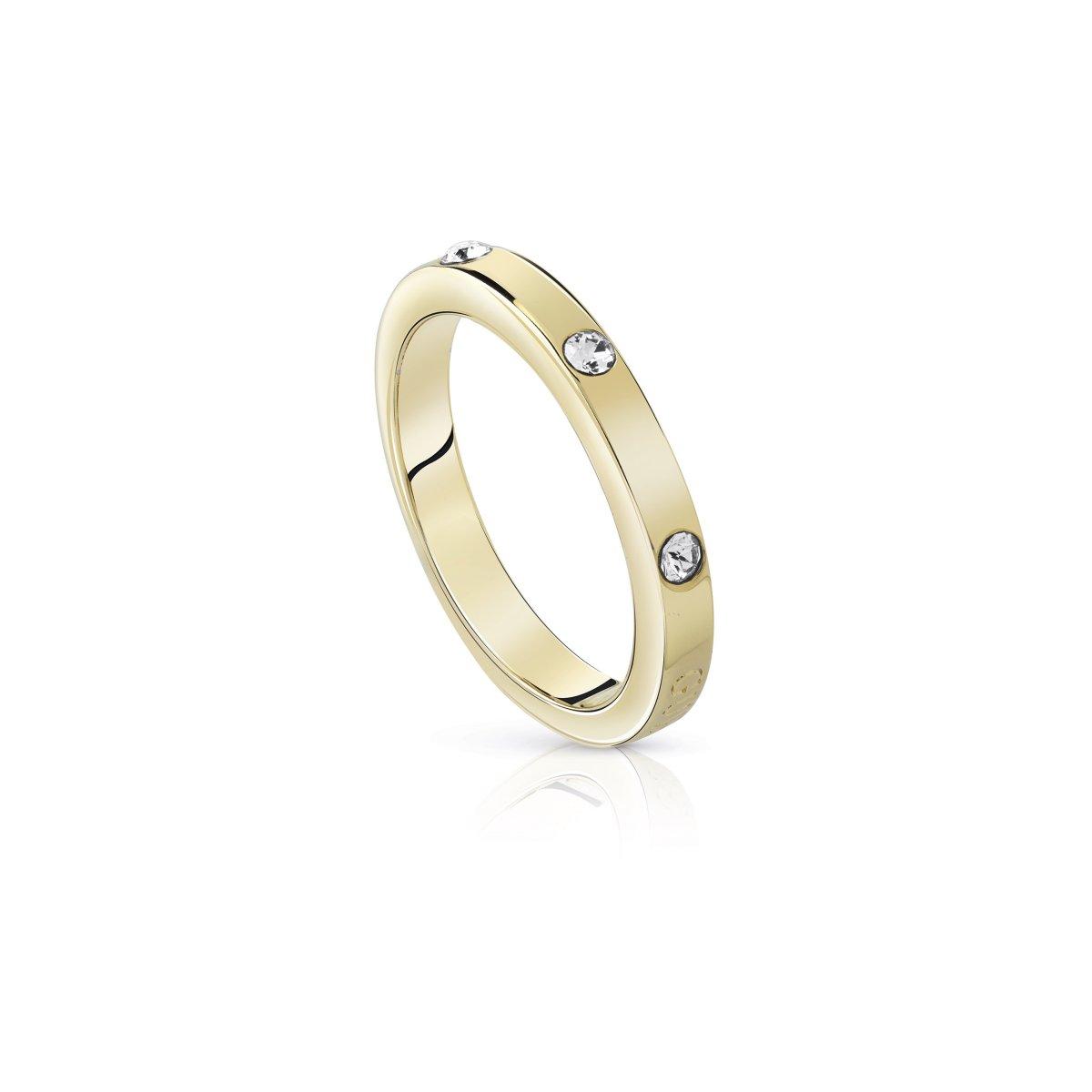 Zlatý prsteň GUESS s krištáľmi