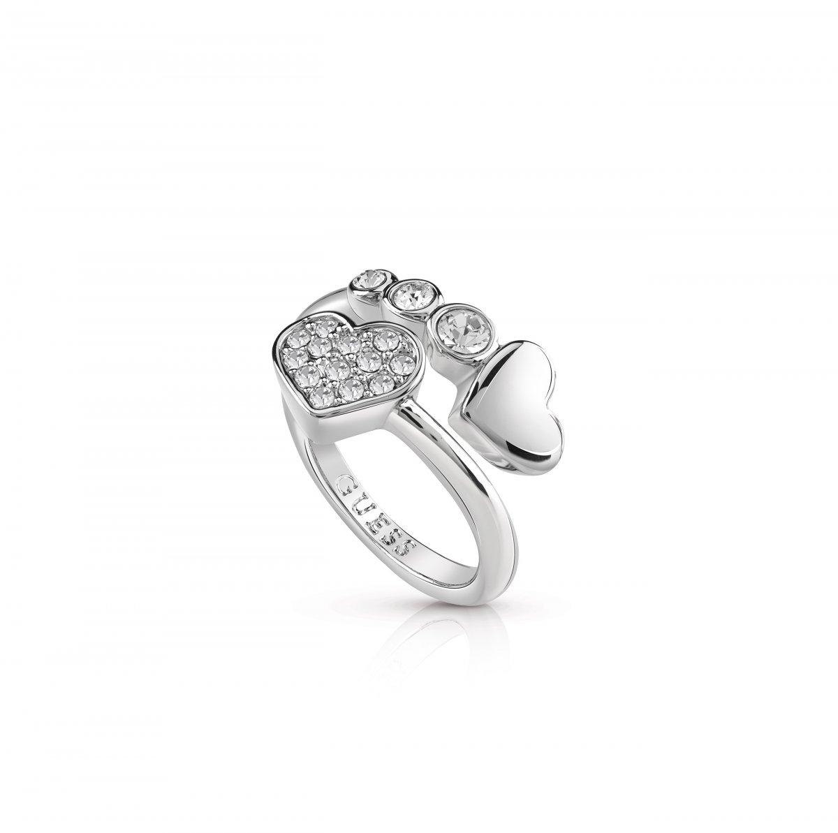 Strieborný prsteň GUESS so srdiečkami