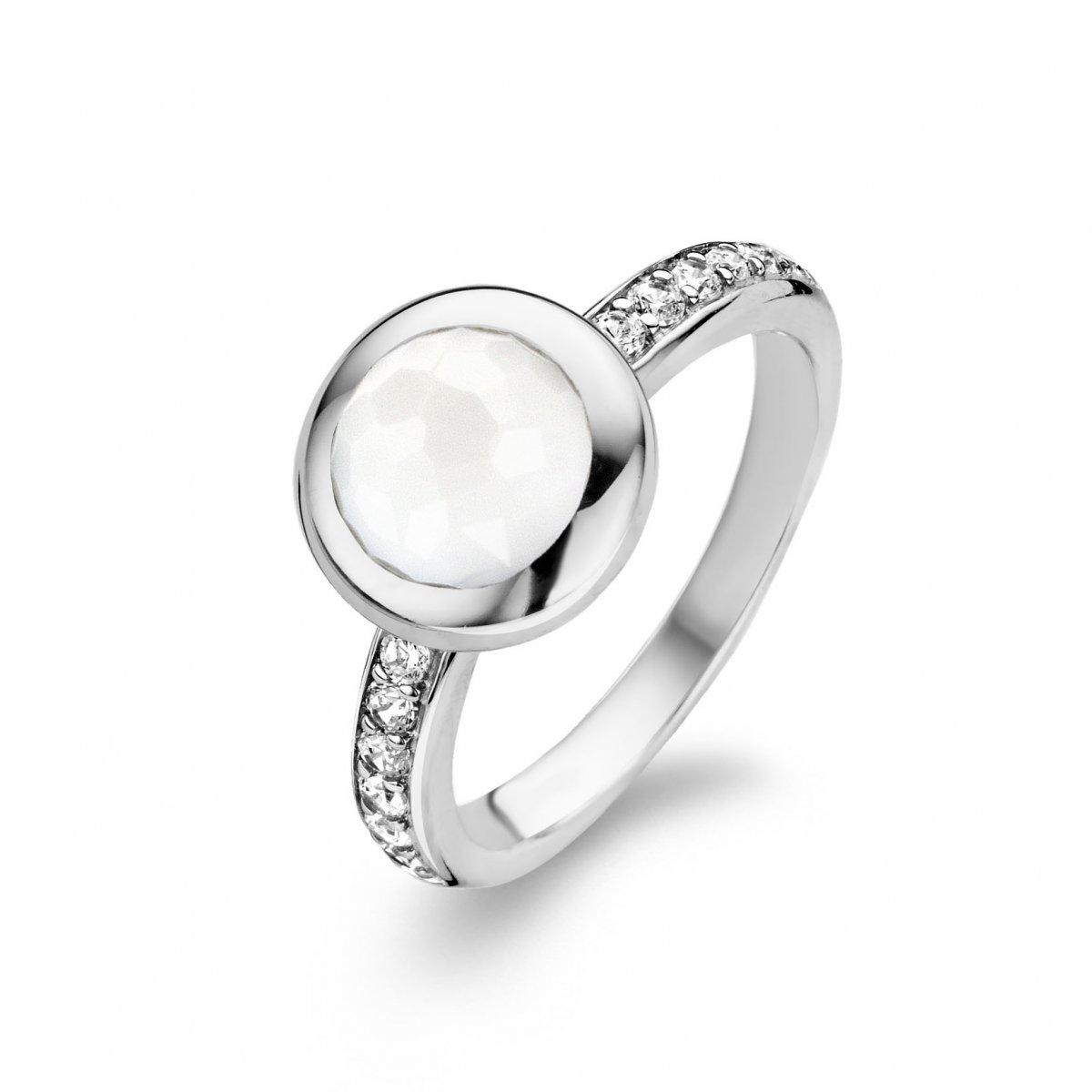 Prsteň TI SENTO s nepriehľadným bielym kameňom