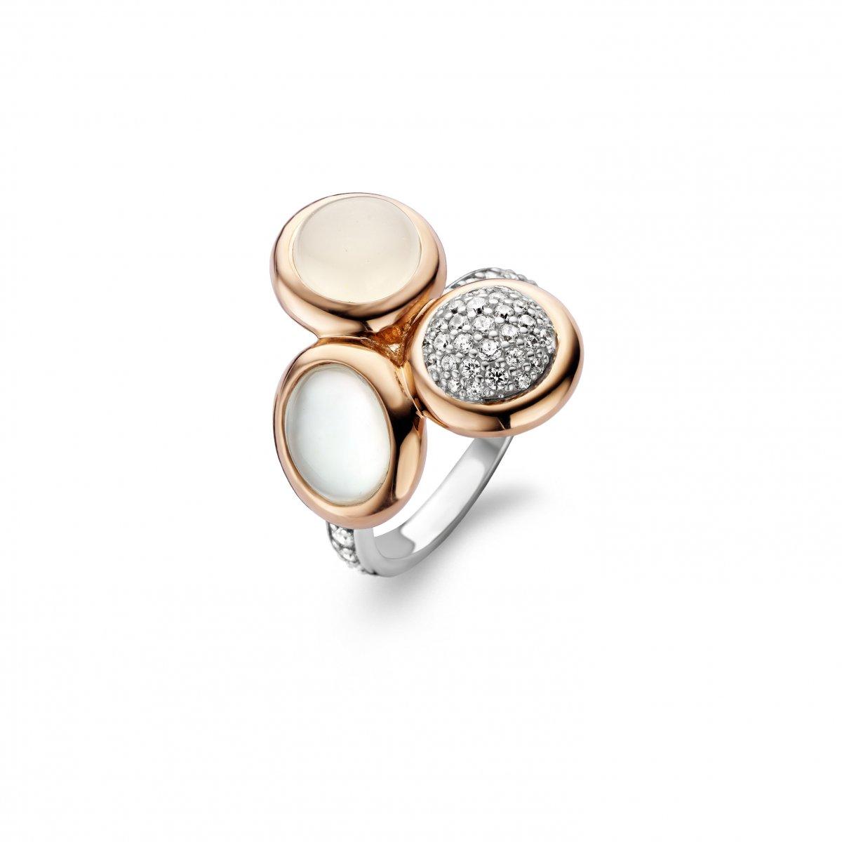 Ružovo-strieborný prsteň TI SENTO