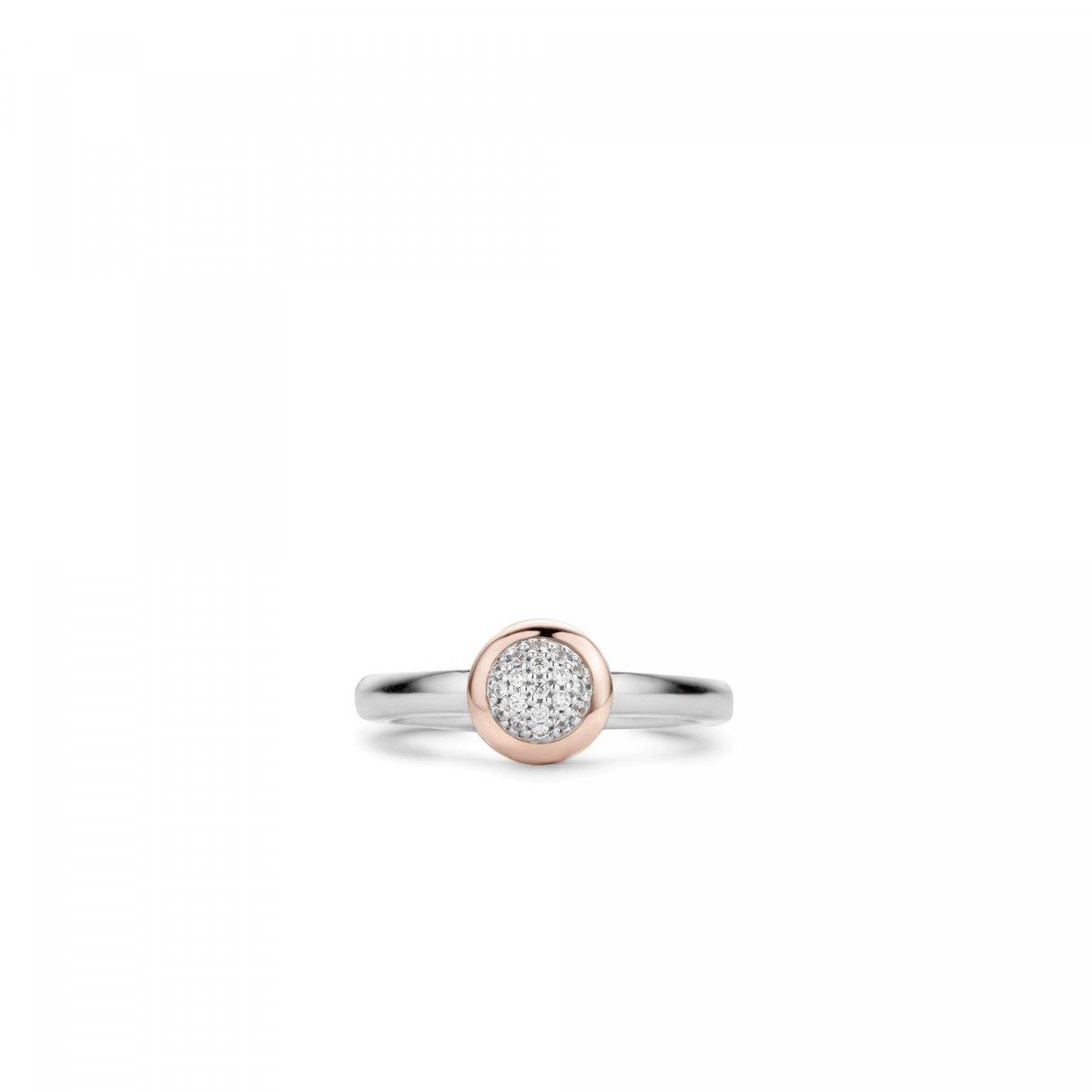 Strieborno-ružový prsteň TI SENTO so zirkónmi