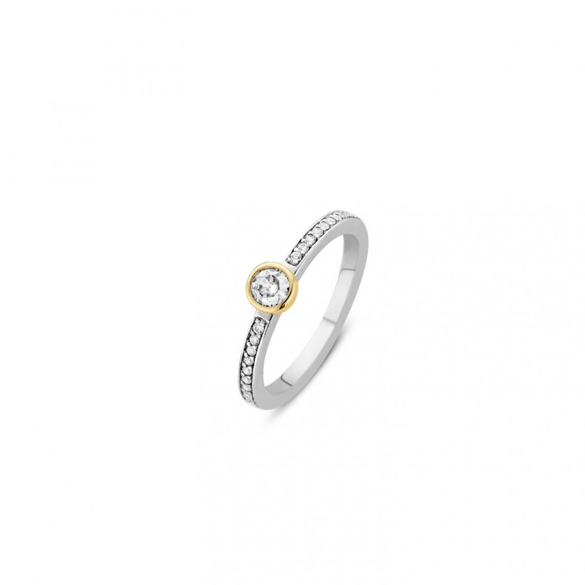 Strieborno-zlatý prsteň TI SENTO