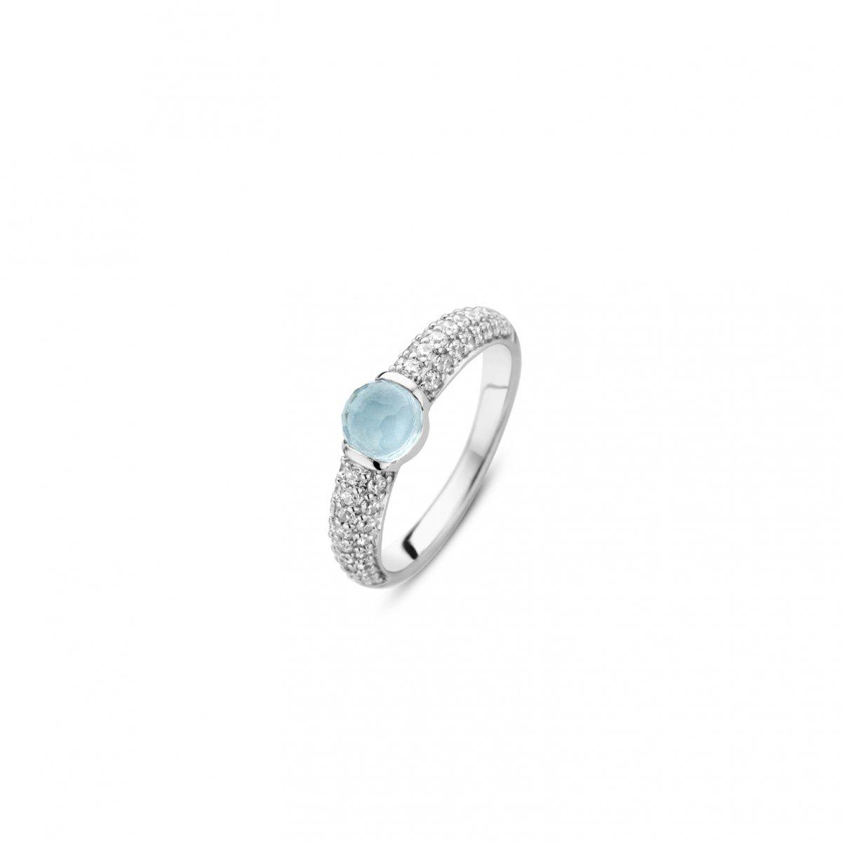 Prsteň TI SENTO s modrým krištáľom