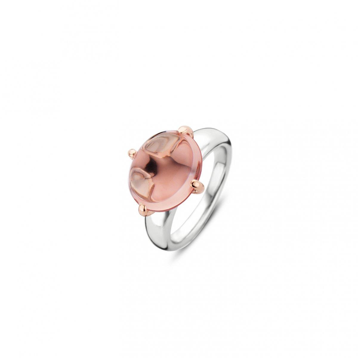 Prsteň TI SENTO s ružovým krištáľom