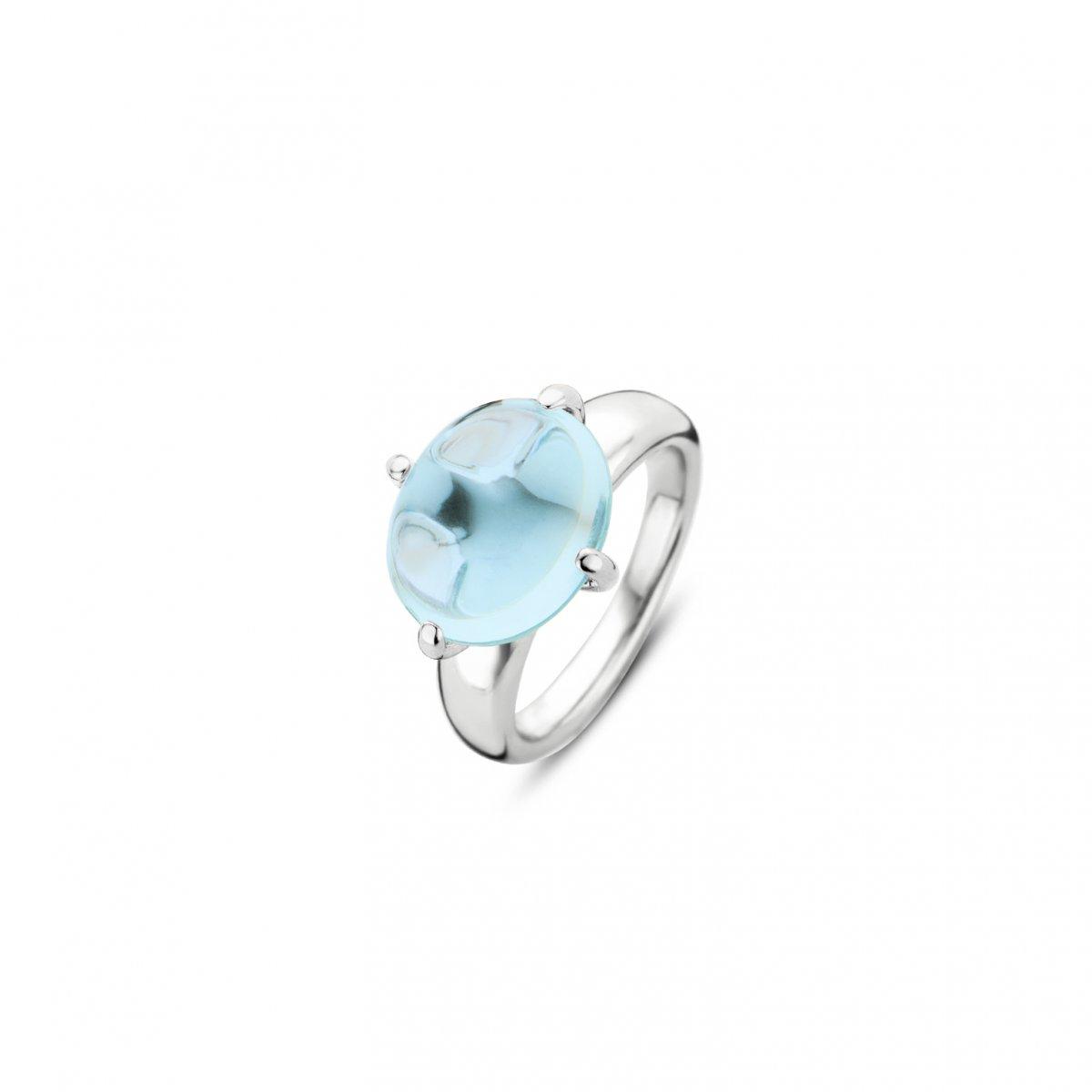 Prsteň TI SENTO s modrým syntetickým krištáľom