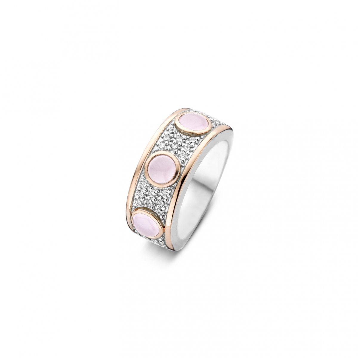 Strieborno-ružový prsteň TI SENTO s perleťou