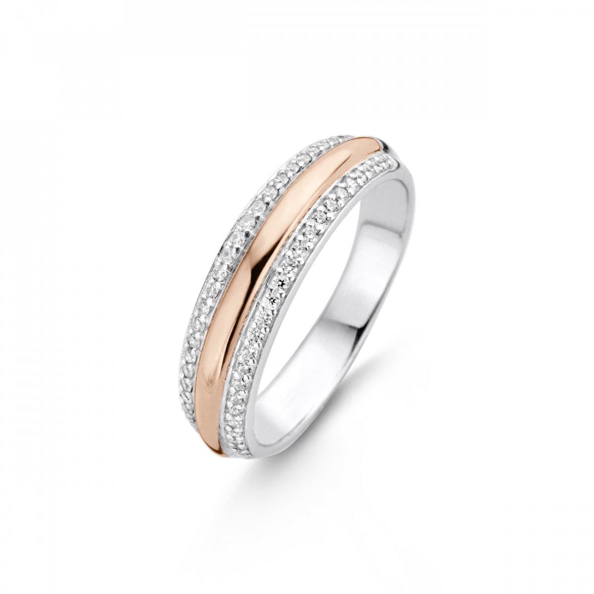 Strieborno-ružový prsteň TI SENTO