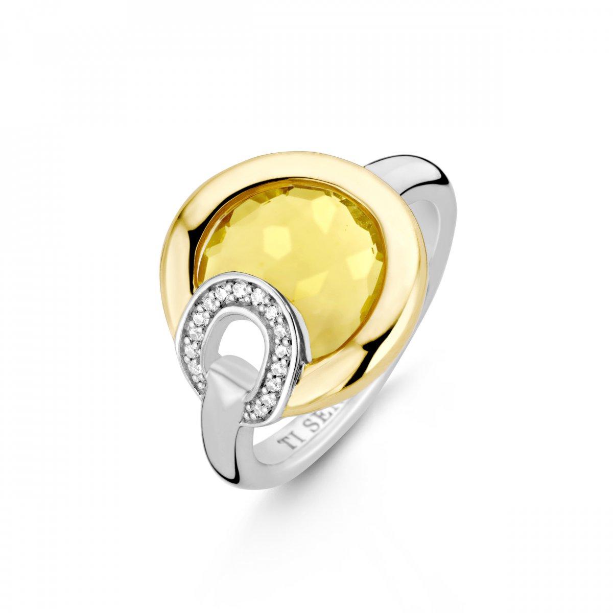 Prsteň TI SENTO so žltým kameňom