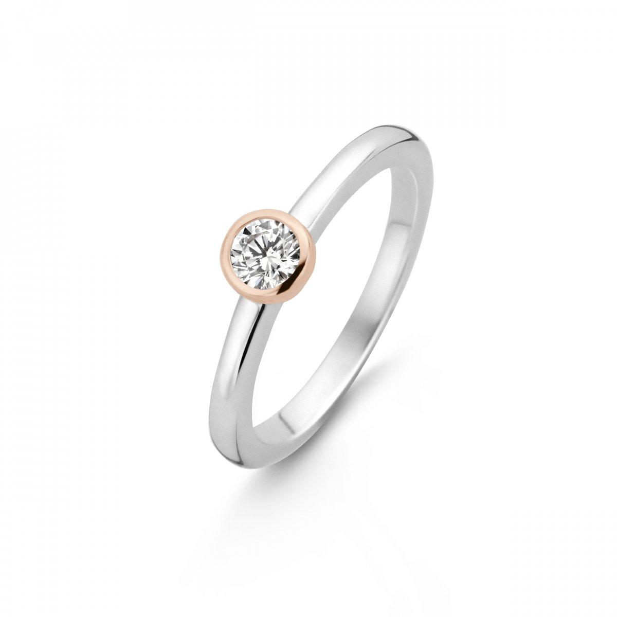Strieborno-ružový prsteň TI SENTO so zirkónom