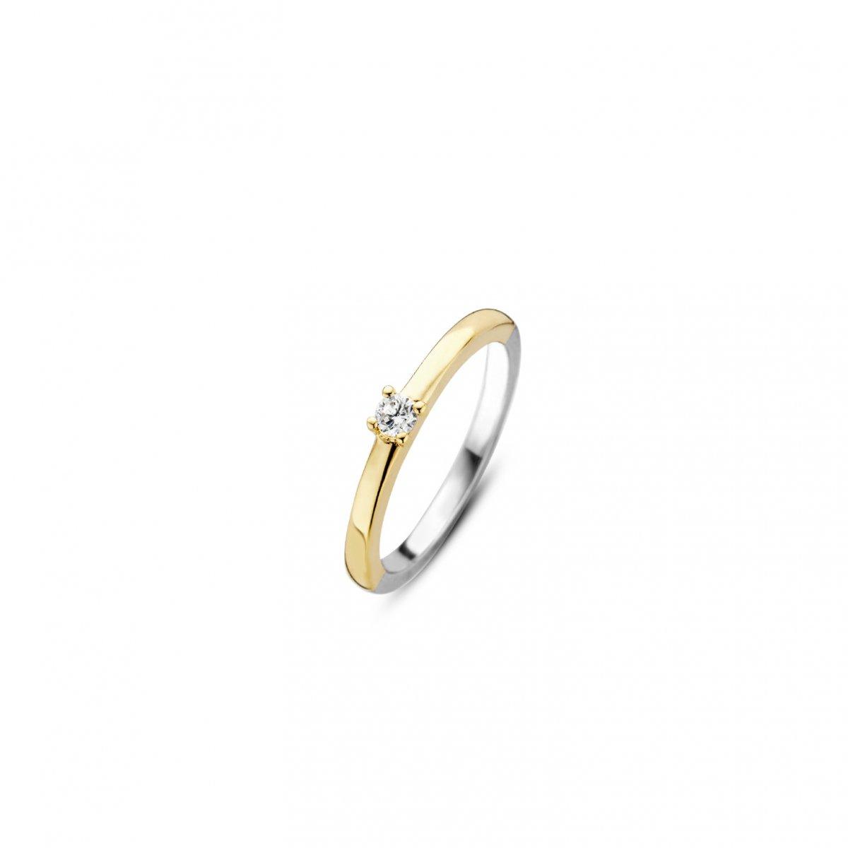 Strieborno-zlatý prsteň TI SENTO so zirkónom