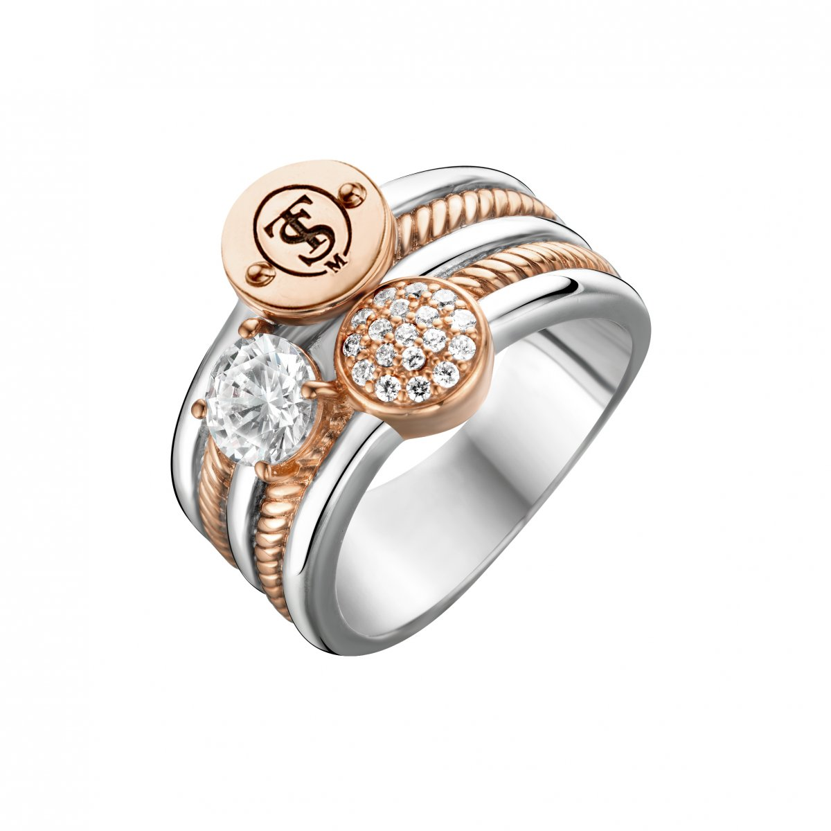 Viac radový strieborno-ružový prsteň TI SENTO