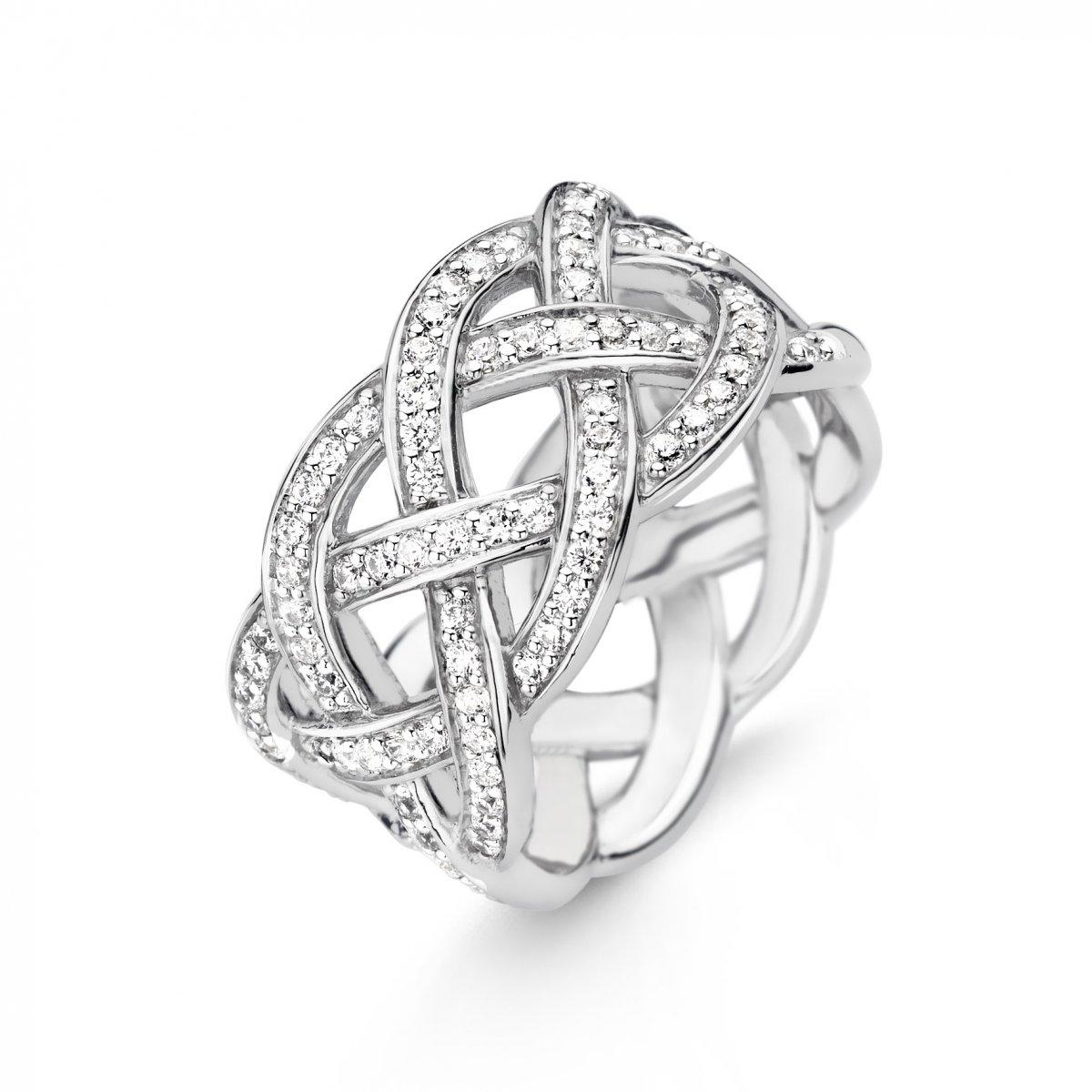 Preplietaný prsteň TI SENTO 12026ZI