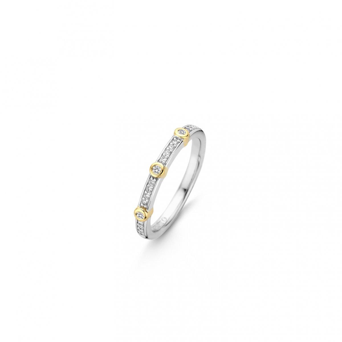 Strieborno-zlatý prsteň TI SENTO so zirkónmi