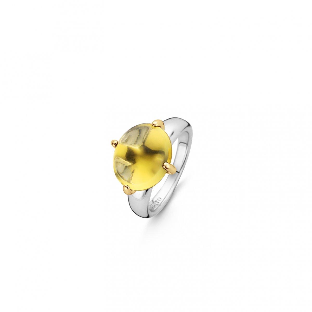 Strieborný prsteň TI SENTO so žltým kameňom