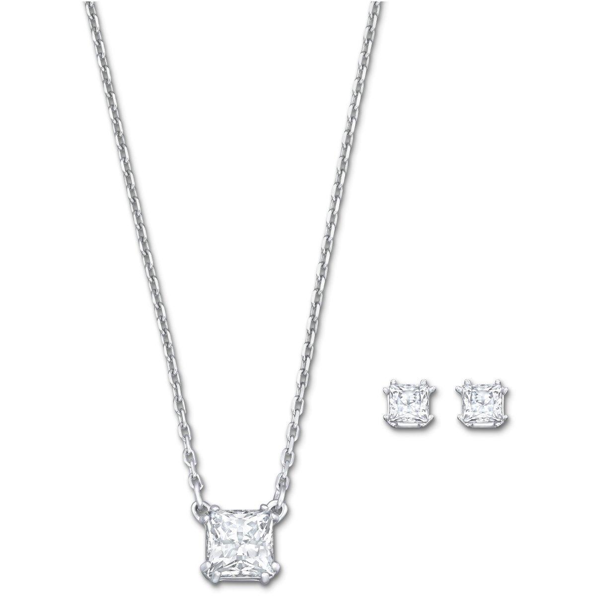 Set SWAROVSKI náušnice a náhrdelník s krištálom v tvare štvorca